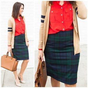 j. crew // black watch tartan plaid pencil skirt